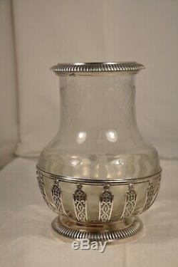 Vase Ancien XIX Argent Massif Verre Grave Antique Solid Silver Cutted Glass Vase