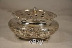 Vase Argent Massif Perse Vintage Persian Solid Silver Pot 285 Gr