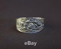 Vintage S Kirk & Son Sterling Silver Floral Rose Flower Repousse Cuff Bracelet
